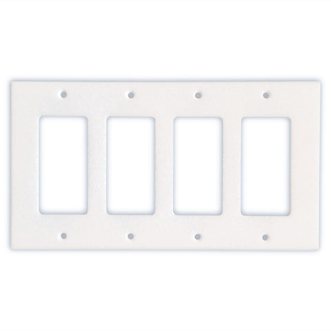 Thassos White Marble Quadruple Rocker Switch Wall Plate / Switch Plate-Honed