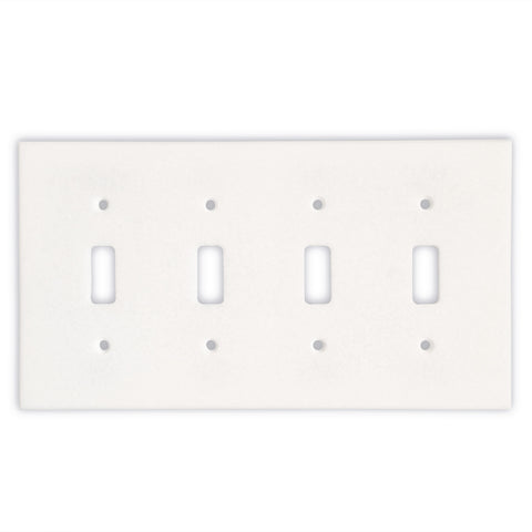 Thassos White Marble Quadruple Toggle Switch Wall Plate / Switch Plate-Polished