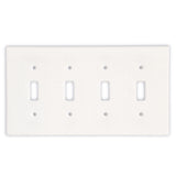 Thassos White Marble Quadruple Toggle Switch Wall Plate / Switch Plate-Honed