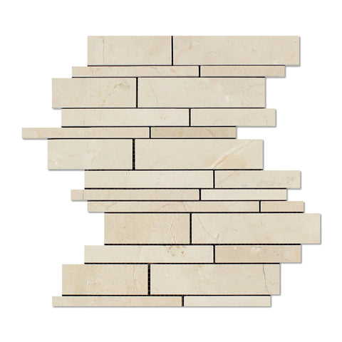 Crema Marfil Marble Polished Random Strip Mosaic Tile - American Tile Depot - Commercial and Residential (Interior & Exterior), Indoor, Outdoor, Shower, Backsplash, Bathroom, Kitchen, Deck & Patio, Decorative, Floor, Wall, Ceiling, Powder Room - 1