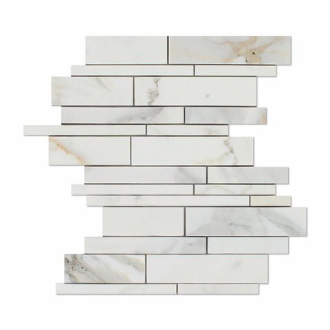 Calacatta Gold Marble Honed Random Strip Mosaic Tile - American Tile Depot - Commercial and Residential (Interior & Exterior), Indoor, Outdoor, Shower, Backsplash, Bathroom, Kitchen, Deck & Patio, Decorative, Floor, Wall, Ceiling, Powder Room - 1