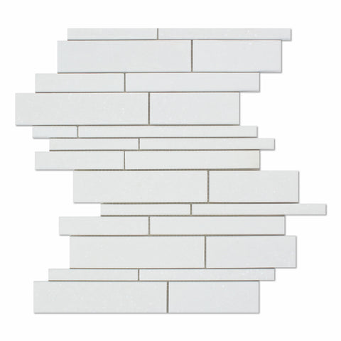 Thassos White Marble Honed Random Strip Mosaic Tile - American Tile Depot - Commercial and Residential (Interior & Exterior), Indoor, Outdoor, Shower, Backsplash, Bathroom, Kitchen, Deck & Patio, Decorative, Floor, Wall, Ceiling, Powder Room