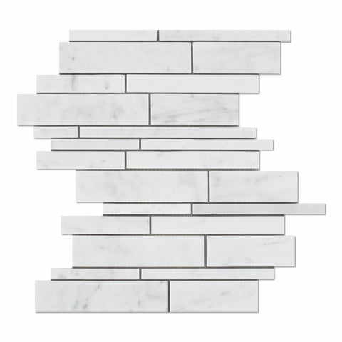 Carrara White Marble Polished Random Strip Mosaic Tile - American Tile Depot - Commercial and Residential (Interior & Exterior), Indoor, Outdoor, Shower, Backsplash, Bathroom, Kitchen, Deck & Patio, Decorative, Floor, Wall, Ceiling, Powder Room - 1