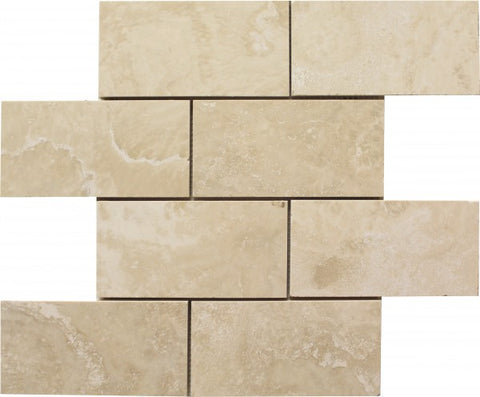3 X 6 Ivory Travertine Filled & Honed Subway Brick Field Tile - American Tile Depot - Shower, Backsplash, Bathroom, Kitchen, Deck & Patio, Decorative, Floor, Wall, Ceiling, Powder Room, Indoor, Outdoor, Commercial, Residential, Interior, Exterior