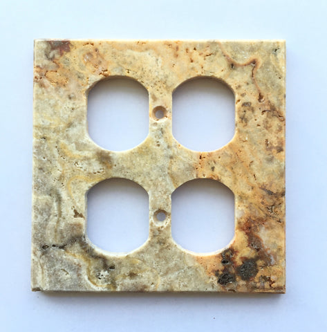 Scabos Travertine Double Duplex Switch Wall Plate / Switch Plate / Cover - Honed - American Tile Depot - Commercial and Residential (Interior & Exterior), Indoor, Outdoor, Shower, Backsplash, Bathroom, Kitchen, Deck & Patio, Decorative, Floor, Wall, Ceiling, Powder Room - 1