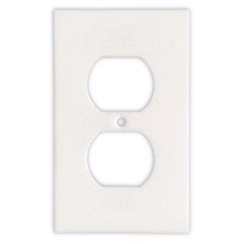 Thassos White Marble Single Duplex Switch Wall Plate / Switch Plate-Honed