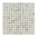 5/8 X 5/8 Calacatta Gold Marble Honed Mosaic Tile - American Tile Depot - Commercial and Residential (Interior & Exterior), Indoor, Outdoor, Shower, Backsplash, Bathroom, Kitchen, Deck & Patio, Decorative, Floor, Wall, Ceiling, Powder Room - 1