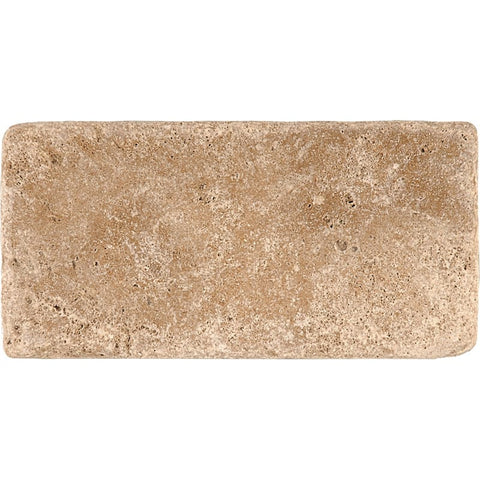 3 X 6 Walnut Travertine Tumbled Subway Brick Field Tile