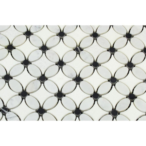 Thassos White Marble Polished Florida Flower Mosaic Tile w/Black Dots