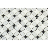 Thassos White Marble Honed Florida Flower Mosaic Tile w/Black Dots