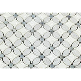 Thassos White Marble Polished Florida Flower Mosaic Tile w/Blue Gray Dots