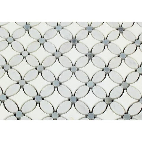 Thassos White Marble Honed Florida Flower Mosaic Tile w/Blue Gray Dots