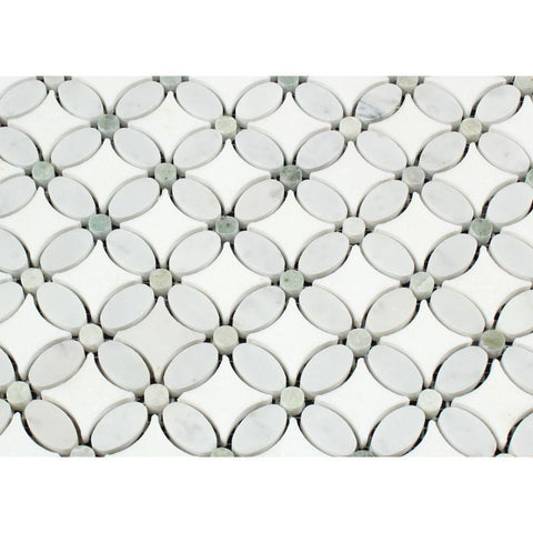 Thassos White Marble Honed Florida Flower Mosaic Tile w/ Ming Green Dots