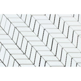 Thassos White Marble Polished Mini Chevron Mosaic Tile