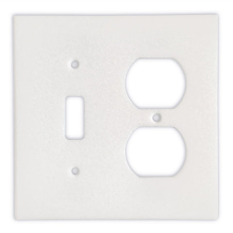 Thassos White Marble Toggle Duplex Switch Wall Plate / Switch Plate-Honed