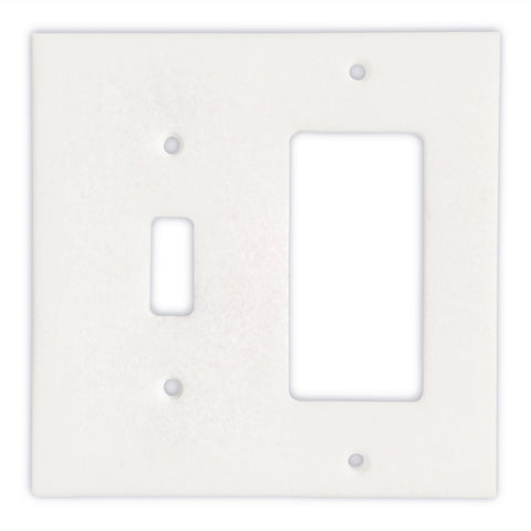 Thassos White Marble Toggle Rocker Switch Wall Plate / Switch Plate-Polished
