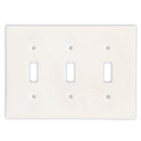 Thassos White Marble Triple Toggle Switch Wall Plate / Switch Plate-Honed