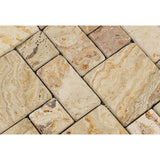 Valencia Travertine 3-Pieced Mini-Pattern Tumbled Mosaic Tile
