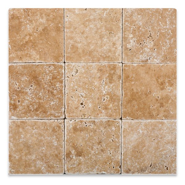 4 X 4 Walnut Travertine Field Tile Tumbled