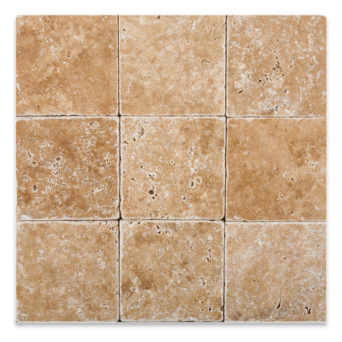 4 X 4 Walnut Travertine Tumbled Field Tile - American Tile Depot - Commercial and Residential (Interior & Exterior), Indoor, Outdoor, Shower, Backsplash, Bathroom, Kitchen, Deck & Patio, Decorative, Floor, Wall, Ceiling, Powder Room - 1