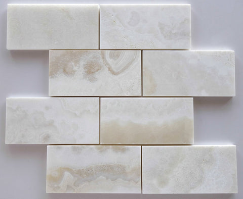 3 X 6 Premium White Onyx CROSS-CUT Polished Subway Brick Field Tile - American Tile Depot - Shower, Backsplash, Bathroom, Kitchen, Deck & Patio, Decorative, Floor, Wall, Ceiling, Powder Room, Indoor, Outdoor, Commercial, Residential, Interior, Exterior