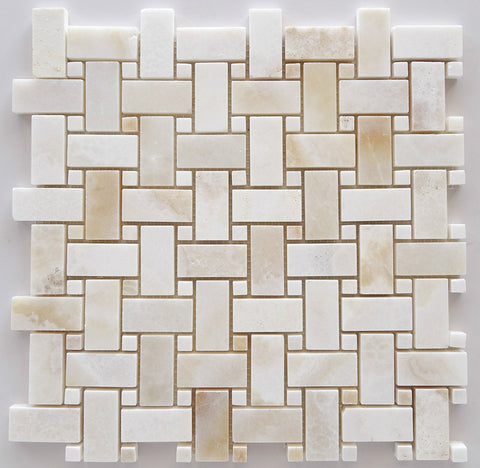 Premium White Onyx CROSS-CUT Basketweave Polished Mosaic Tile White Onyx Dots- American Tile Depot