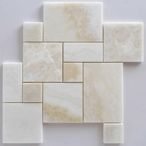 Premium White Onyx CROSS-CUT 4-Pieced OPUS Mini-Pattern Polished Mosaic Tile- American Tile Depot