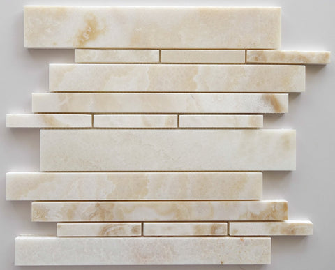 Premium White Onyx CROSS-CUT Polished Random Strip Mosaic Tile- American Tile Depot