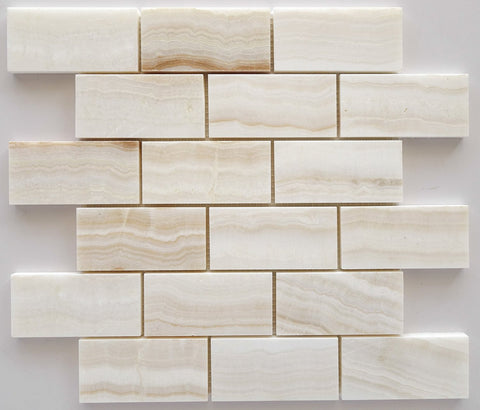 2 X 4 Premium White Onyx VEIN-CUT Polished Brick Mosaic Tile - American Tile Depot - Shower, Backsplash, Bathroom, Kitchen, Deck & Patio, Decorative, Floor, Wall, Ceiling, Powder Room, Indoor, Outdoor, Commercial, Residential, Interior, Exterior