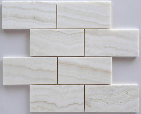3 X 6 Premium White Onyx VEIN-CUT Polished Subway Brick Field Tile - American Tile Depot - Shower, Backsplash, Bathroom, Kitchen, Deck & Patio, Decorative, Floor, Wall, Ceiling, Powder Room, Indoor, Outdoor, Commercial, Residential, Interior, Exterior