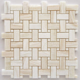 Premium White Onyx VEIN-CUT Basketweave Polished Mosaic Tile White Onyx Dots- American Tile Depot