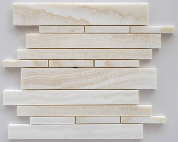 Premium White Onyx Vein Cut Random Strip Mosaic Tile Polished