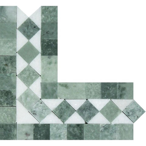 Thassos White Marble Honed BIAS Border Corner Listello w / Ming Green Dots