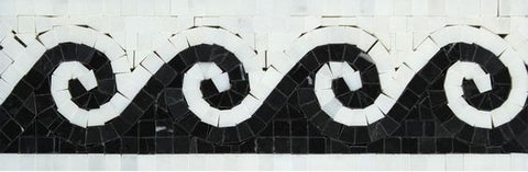 Oriental White Marble Honed Wave Border w / Black Dots
