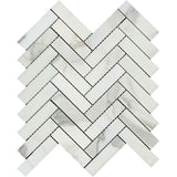 Calacatta Gold Marble Polished 1 x 4 Herringbone Mosaic Tile