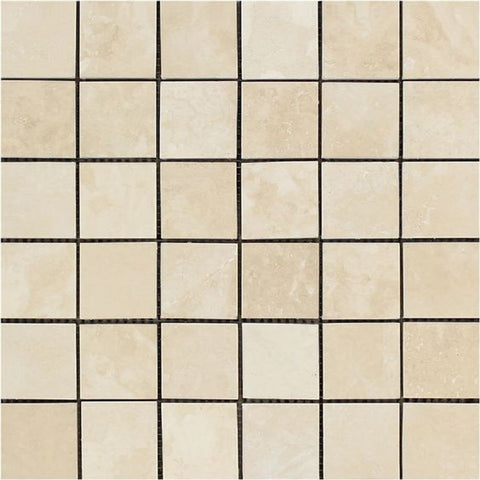 2 X 2 Ivory Travertine Honed Mosaic Tile