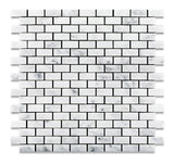 Carrara White Marble Honed Baby Brick Mosaic Tile - American Tile Depot - Commercial and Residential (Interior & Exterior), Indoor, Outdoor, Shower, Backsplash, Bathroom, Kitchen, Deck & Patio, Decorative, Floor, Wall, Ceiling, Powder Room - 1