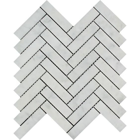 Carrara White Marble Polished 1 x 4 Herringbone Mosaic Tile