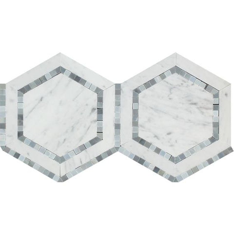 "Carrara White Marble Honed 5"" Hexagon Combination Mosaic w / Blue-Gray Dots Tile"
