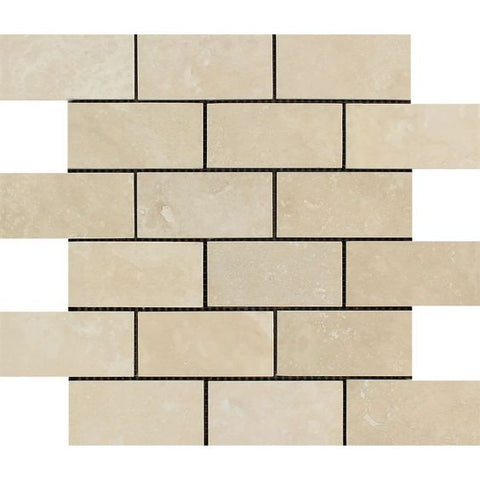 2 X 4 Ivory Travertine Honed Brick Mosaic - American Tile Depot - Shower, Backsplash, Bathroom, Kitchen, Deck & Patio, Decorative, Floor, Wall, Ceiling, Powder Room, Indoor, Outdoor, Commercial, Residential, Interior, Exterior