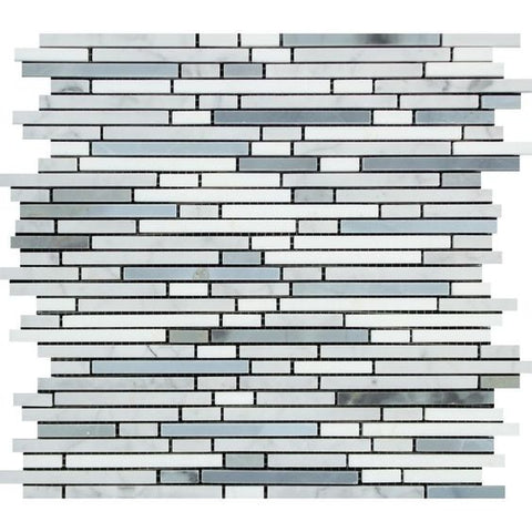 Thassos White Marble Honed Tricolor ( Thassos +Carrara + Blue-Gray ) Bamboo Sticks Mosaic