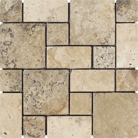Philadelphia Travertine 3-Pieced Mini-Pattern Tumbled Mosaic Tile