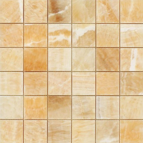 2 X 2 Honey Onyx Polished Mosaic Tile - American Tile Depot - Shower, Backsplash, Bathroom, Kitchen, Deck & Patio, Decorative, Floor, Wall, Ceiling, Powder Room, Indoor, Outdoor, Commercial, Residential, Interior, Exterior
