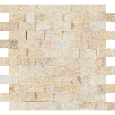 1 X 2 Honey Onyx Split-Faced Brick Mosaic Tile