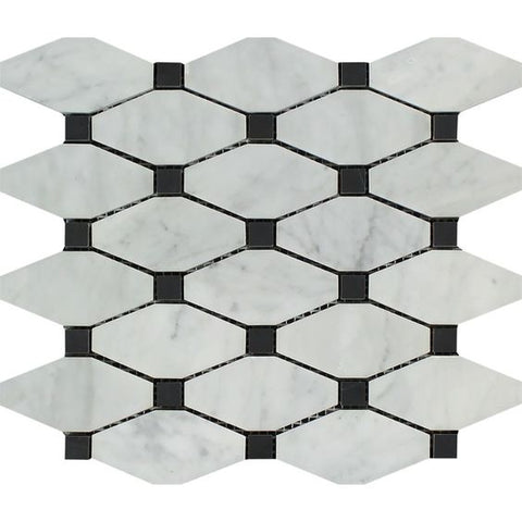 Carrara White Marble Polished Octave Pattern Mosaic Tile w/ Black Dots