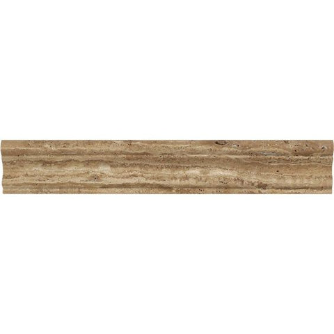 Noce Exotic Travertine (Vein-Cut) Polished & Unfilled Milano (Crown / Mercer) Molding Trim