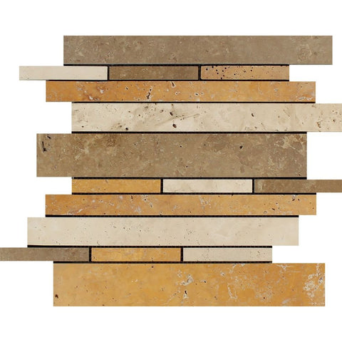 Mixed Travertine Honed Random Strip Mosaic Tile