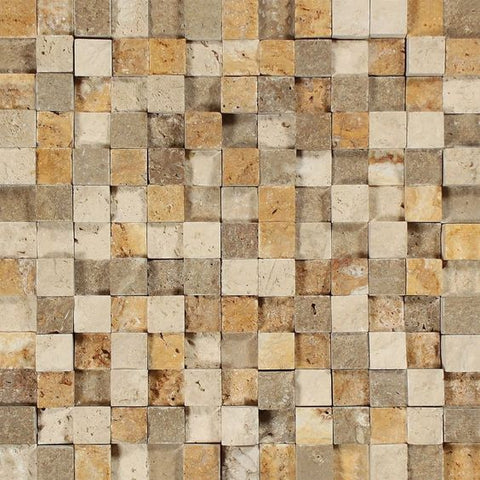 1 X 1 Mixed Travertine HI-LOW Split-Faced Mosaic Tile - American Tile Depot - Shower, Backsplash, Bathroom, Kitchen, Deck & Patio, Decorative, Floor, Wall, Ceiling, Powder Room, Indoor, Outdoor, Commercial, Residential, Interior, Exterior
