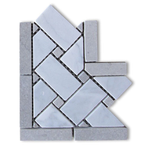 Carrara White Marble Polished Basketweave Border Corner w / Blue-Gray Dots