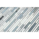 Carrara White Marble Honed Tricolor Bamboo Sticks Mosaic (Carrara + Thassos + Blue-Gray )